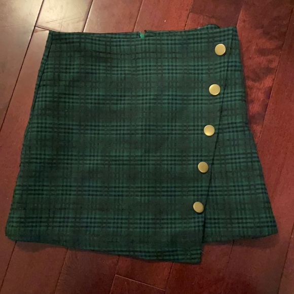 Green Plaid Mini Skirt (pencil skirt)
